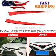 Front Center Hood Grille Grill Cover Trim Red For Camry 18-20 Se Stainless Steel
