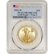 2021 W American Gold Eagle Type 2 Proof 1/2 Oz 25 Pcgs Pr70 First Day Of Issue