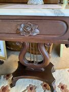 Pair Victorian Revival Mahogany And Italian Marble Harp Lyre Side End Parlor Table