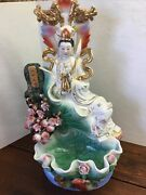 """Chinese Porcelain Ceramic Statue. Chinese Lady With Ducks And Roses 21.5"""" Tall"""