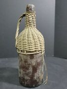 1800and039s Antique Rattan 13 Wicker Wrapped Glass Bottle Demijohn Handled Wine Jug