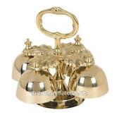 Sanctuary Altar Bells Four Bells Brass With Handle 5 3/4w X 6h