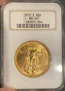1915-s 20 Gold St. Gaudens. Ngc Ms63. Rare Date Old Soap Dish Holder. Upgrade