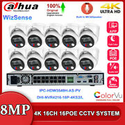 Dh 4k 8mp Colorvu 16ch 16poe Cctv System Lot Ipc-hdw3849h-as-pv Two Way Audio