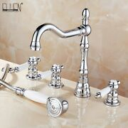 Bathtub Faucets 5 Piece Mixer Hot Colder Water Crane With Hand Shower Tap Handle