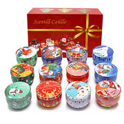 12pcs Christmas Aromatherapy Candle Set Cute Canned For Relaxing Body Xmas Gin8