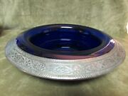 Circa 1920's Pairpoint Art Glass Sterling Silver Floral Overlay Rolled Edge Bowl