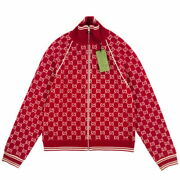 Gg Pattern Wool Bomber Jacket Red Size S