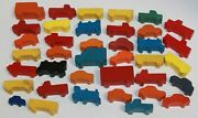 Vintage Wooden Toy Village Painted Cars Trucks And Trains Lot Of 38