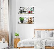 Geometric Wall Mounted Floating Shelves Home Decor Metal Wire And Rustic Wood