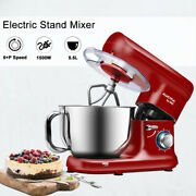 Stand Food Mixer 5.5 L Mixing Bowl Dough Hook 6 Speed 1500w Stainless Steel Red
