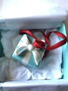 And Co. Little Blue Gift Box And Ribbon Ornament Bone China With Box