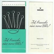 1958 Rolex Watch Pamphlet Brochure And Price List I Need A New Watch German