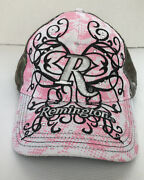 Girls Women's Remington Pink And Green Tree Camo Adjustable 1 Size Hat Embroidered