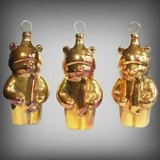 🎄 Vintage 11 Gold Bear W/scarf Figural Plastic Mold Christmas Holiday Ornament