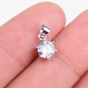 925 Sterling Silver Tarnish-free Diamond-cut Crystal Pendant+necklace H779