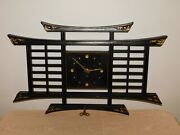Vintage 26 X 16 High Oriental Wind Up Wall Clock With Key