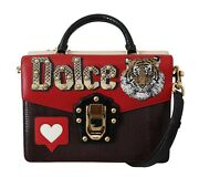 Dolce And Gabbana Bag Lucia Multicolor Tiger Patch Leather Shoulder Borse 4200
