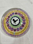 Baccarat, France Paperweight, Griddle Silhouette Millefiori Rooster 1971