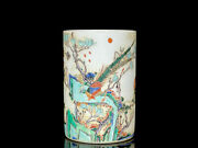 Chinese Antique Vintage Porcelain Flowers And Birds Brush Pot Collectibles Art