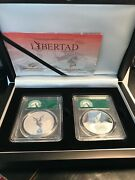 2020 2x1 Oz Silver Mexican Libertad Proof And Reverse Proof Pr70 Dcam Fs Coin Set.