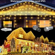 Warm White Curtain Icicle Lights Wedding Party Led Fairy Christmas In/ Outdoor