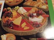 Dept 56 Time To Celebrate Stoneware Cheese Platter And Wicker Holder 5pc New