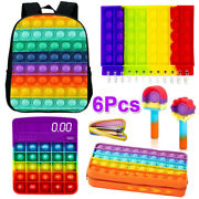 6 Pack Backpack Notebook Calculator Pencil Case Fidget Toys Popit Stress Relief