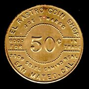 Ca San Mateo Rastro Coin Shop Joe Wargo 50andcent I.t. Token Br 38mm K2-70 And03976 Bicentand039