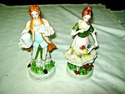 A Pair Of Victorian Style Hand Painted Ceramic Young Lady And Gentleman Figurines