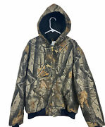 Menand039s Large Real Tree Camo Hooded Quilt Lined Zip Up Work Wear Jacket