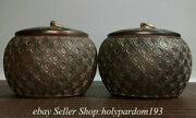6 Collect Old Chinese Black Sanders Dynasty Weiqi Jar Pot Vessel Crock Pair