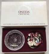 Oneida Crystal Southern Garden Ring Holder And Jewelry Pouch C027 402 New