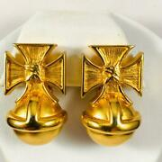 Rare Signed Vintage Maltese Cross Clip Earrins By Ann And Catherine Prevost