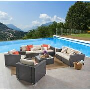 Santa Rosa Outdoor 8-pc. Wicker Chat Set By Christopher Multi-brown + Beige Cush