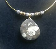 Ammonite Fossil Necklace With Antique Brass Beads And Bali Silver Beads