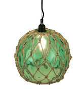 Scratch And Dent Green Glass Rope Wrapped Pendant Light Coastal Ceiling Lamp