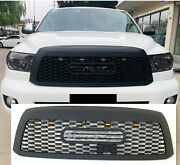 New Style Front Grille For 08-17 Toyota Sequoia Black W/letters And 4 Led Lights