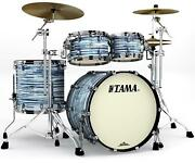 Tama Starclassic Maple 4-piece Shell Pack - Blue And White Oyster - Black Nickel
