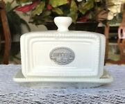 Thl Classic Farmhouse Butter Dish French Country Shabby Chic Beaded Silver