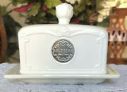 Thl Classic Farmhouse Butter Dish French Country Shabby Chic Rose Top Silver
