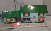Vintage Marx 1960's Tin Split Level Dollhouse Litho And Furniture And Awning Clean