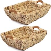Natural Storage Hand Woven Baskets With Handle Water Hyacinth Nesting Storage O