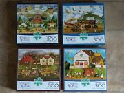 Set Of 4 Charles Wysocki 300 Large Piece Buffalo Jigsaw Puzzles All Complete