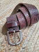 American Eagle Brown Tooled Leather Women's Belts Sz. Small