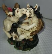 Rjt Copy Right Sign 2004 2 Winged Horses With Rabbit In Bottom White Figurines