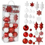 Rn'd Christmas Snowflake Ball Ornaments - Christmas Hanging Red And White