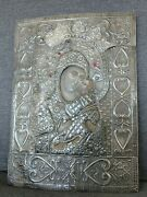 X Large Antique Jeweled Russian Style Greek 900 Silver Icon Rizza 40 X 30 Cmandnbsp
