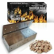 Grill Hunter Smoker Box Stainless Steel For Wood Chips Use A Gas Or Charcoal Bbq