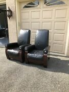 From Mike Tyson's Former Estate - 2 Modernist Italian Leather Club Chairs